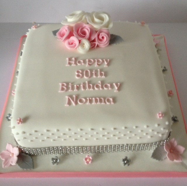 80Th Birthday Cake Pinksilver 80th Birthday Cake