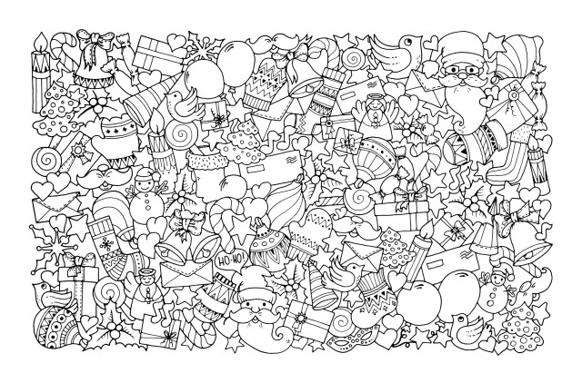 Adult Christmas Coloring Pages Christmas Doodle With Santa Claus Christmas Adult Coloring Pages