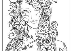 Adult Color Pages Woman Flowers Anti Stress Adult Coloring Pages