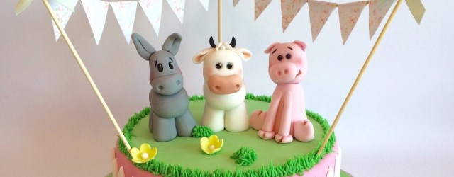 Animal Birthday Cakes Girly Farm Animals Birthday Cake With Edible Cow Donkey Pig And