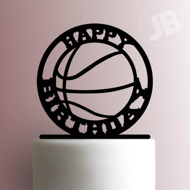 Basketball Birthday Cake Basketball Happy Birthday Cake Topper 100