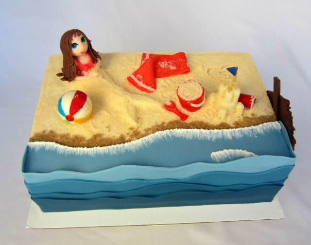 Beach Birthday Cake Delectable Cakes Little Girl Beach Party Birthday Cake