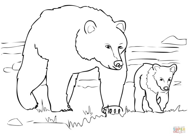 Bear Coloring Pages Grizzly Bear Family Coloring Page Free Printable Coloring Pages