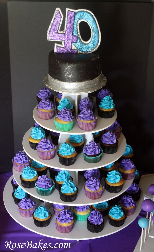 Birthday Cake Cupcakes 40th Birthday Cake Cupcake Tower Rose Bakes