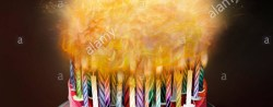 Birthday Cake With Lots Of Candles Lots Of Candles Burning On Birthday Cake Stock Photo 78226837 Alamy