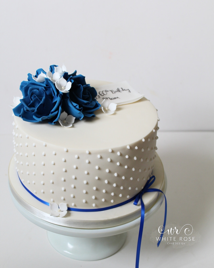 Blue And White Birthday Cake Blue And White 60th Birthday Cake White Rose Cake Desig Flickr