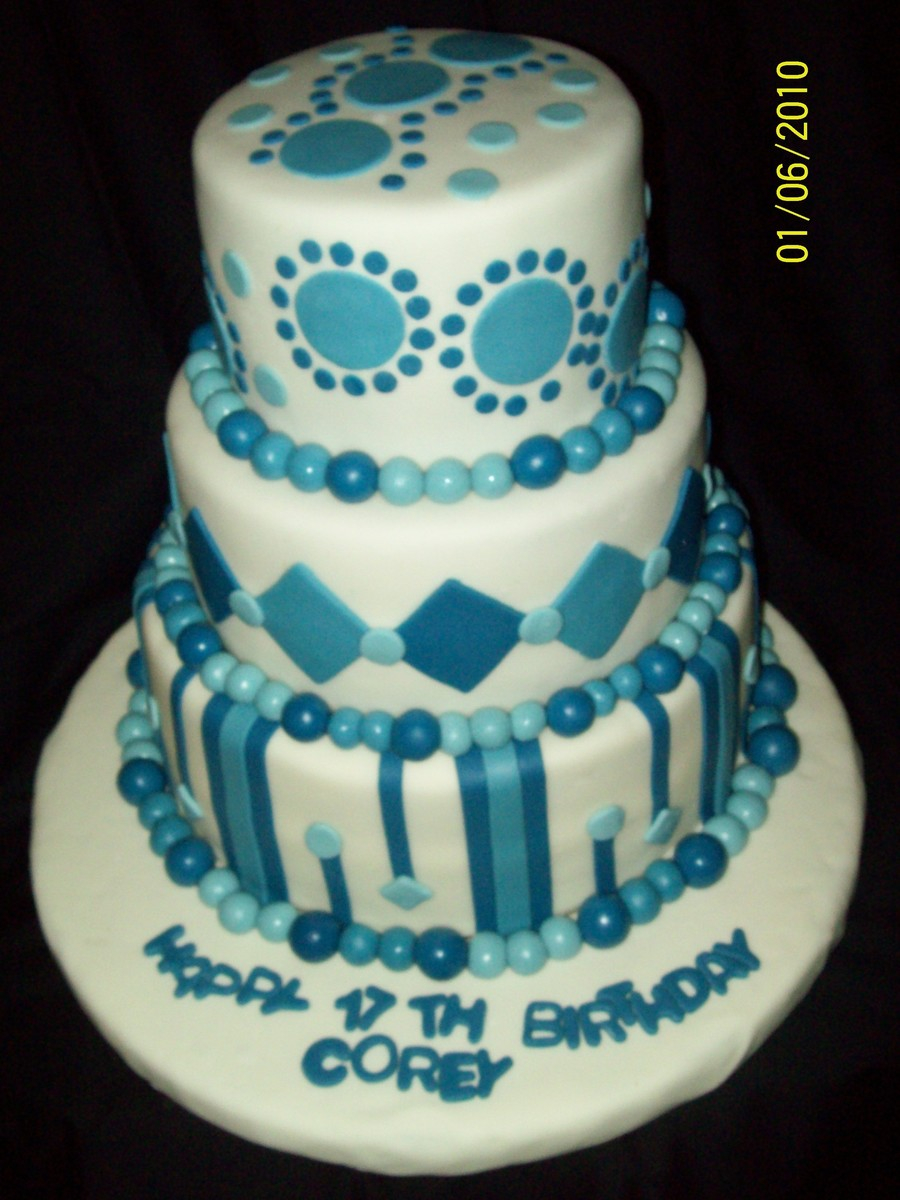 Blue And White Birthday Cake Blue And White Birthday Cake Cakecentral