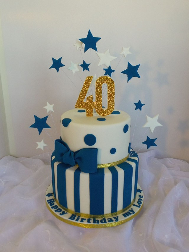 Blue Birthday Cake 40th Two Tier White Navy Blue And Gold Birthday Cake Birthday