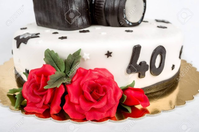 Camera Birthday Cake Birthday Cake For Forty Anniversary With Modern Dslr Photo Camera