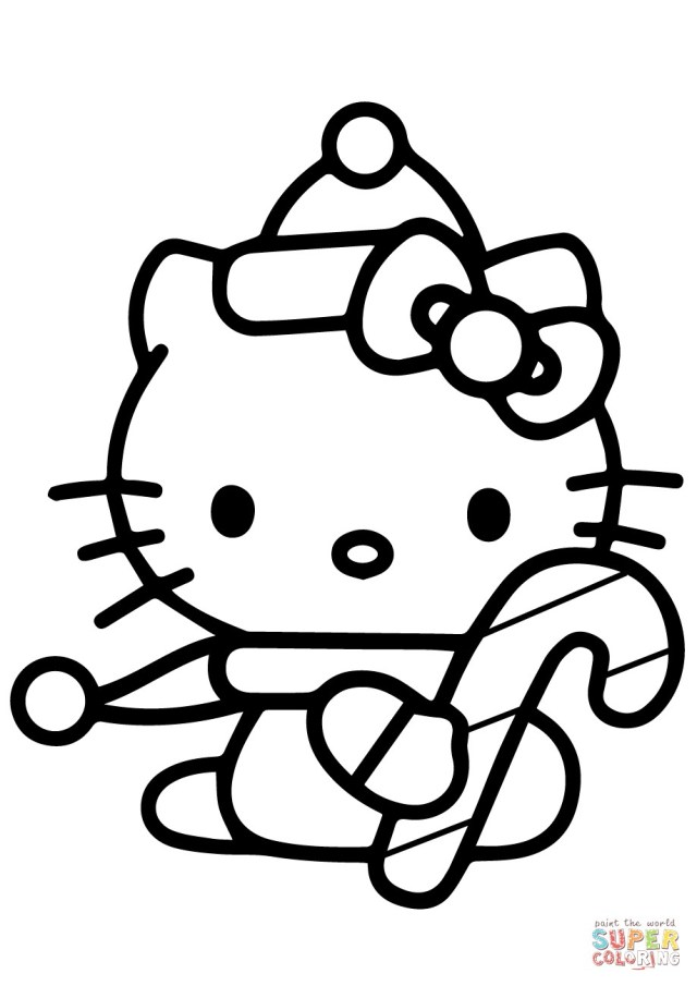 Candy Cane Coloring Page Hello Kitty With Christmas Candy Cane Coloring Page Thanhhoacar