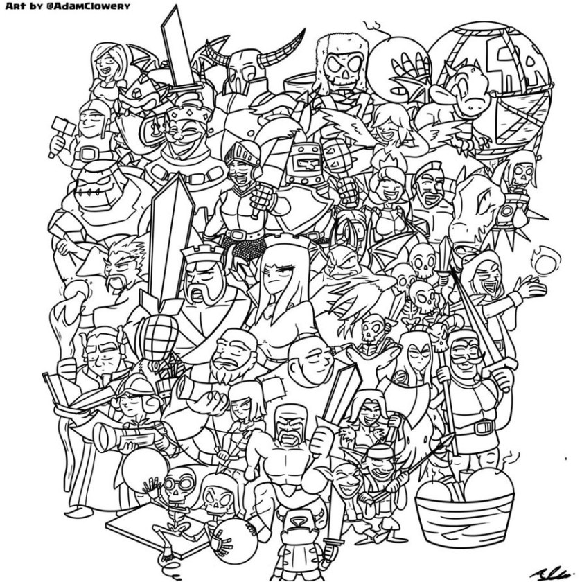 excellent picture of clash royale coloring pages