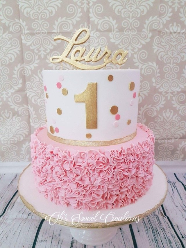First Birthday Cake Ideas First Birthday Cake With Pink And Gold Theme Birthdays