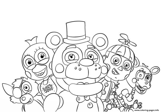 Five Nights At Freddy's Coloring Pages Five Nights At Freddys All Characters Coloring Pages Printable