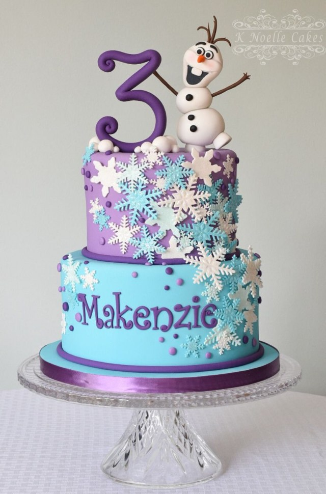 Frozen Themed Birthday Cake Frozen Theme Cake With Olaf K Noelle Cakes Ellies Birthday