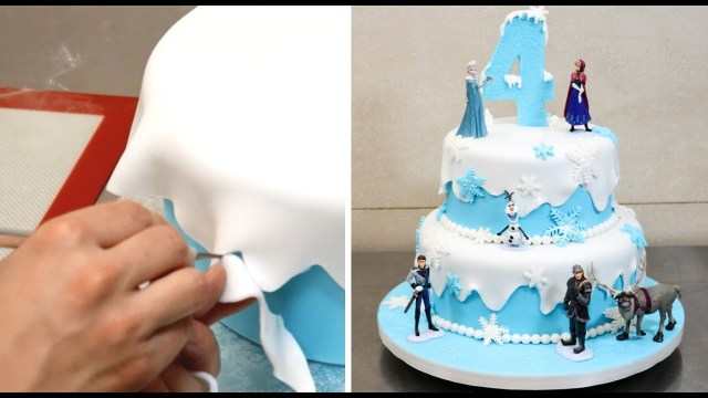 Frozen Themed Birthday Cake How To Make A Frozen Disney Cake Cakesstepstep Youtube
