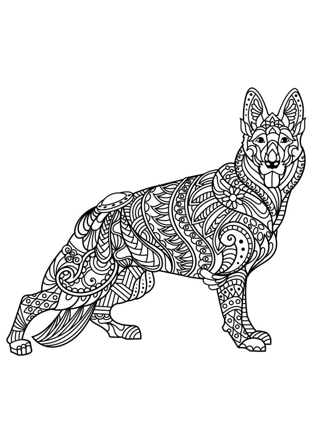 German Shepherd Coloring Pages Free Book Dog German Shepherd Dogs Adult Coloring Pages