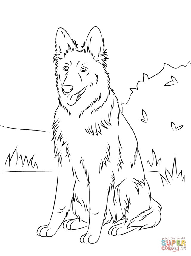 German Shepherd Coloring Pages German Shepherd Sitting Coloring Page Free Printable Coloring Pages