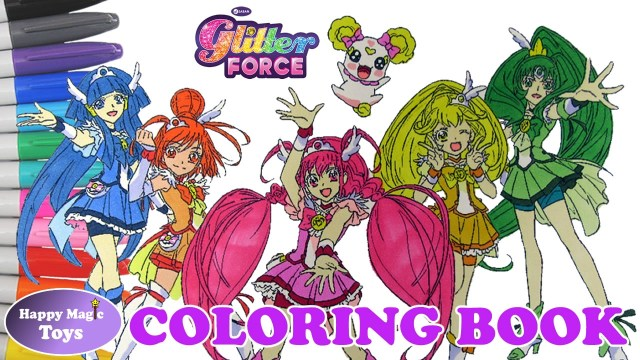 Glitter Force Coloring Pages Coloring Book Glitter Force All Members Plus Candy Happy Magic Toys