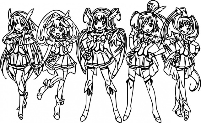 Glitter Force Coloring Pages Glitter Force Coloring Pages Five Girl Page Wecoloringpage