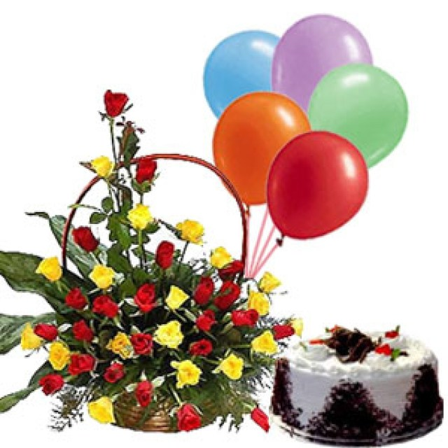Happy Birthday Flowers And Cake Basket Arrangement Of 30 Red And Yellow Roses With 1 Pound Fresh