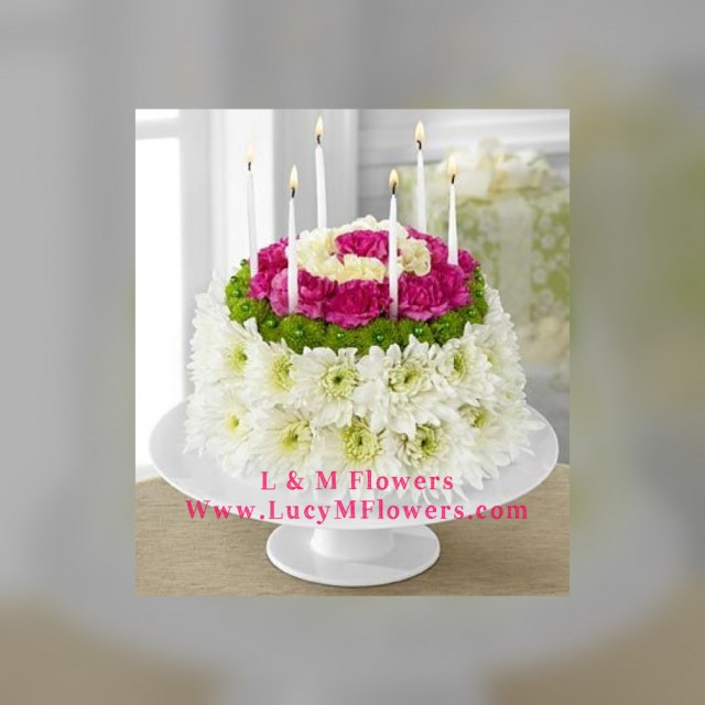 Happy Birthday Flowers And Cake Birthday Flower Cake L M Flowers