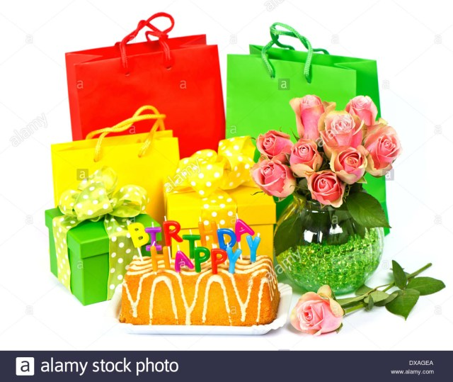 Happy Birthday Flowers And Cake Happy Birthday Cake With Candles Flowers And Gift Stock Photo