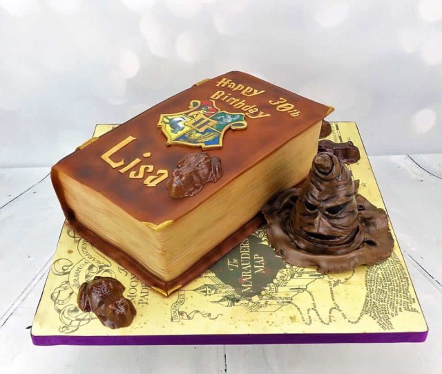Harry Potter Birthday Cakes Harry Potter Book Birthday Cake With Sorting Hat Angie Scott Cakes