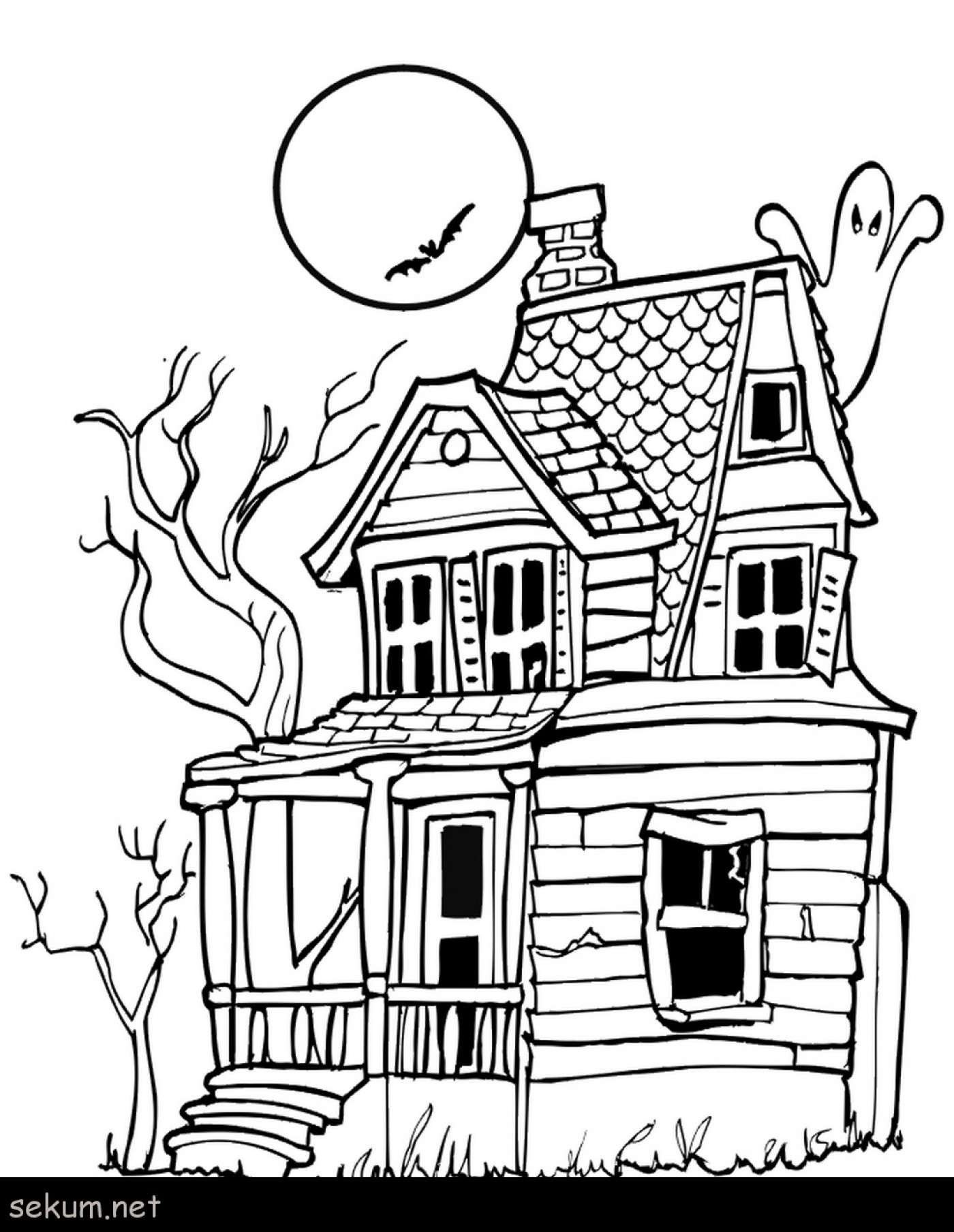 25 Awesome Image Of Haunted House Coloring Pages Entitlementtraprhentitlementtrap: Ghost House Coloring Pages At Baymontmadison.com