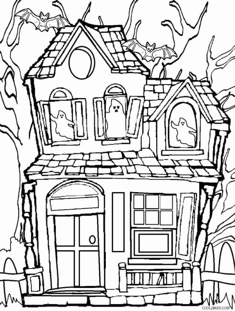 Haunted House Coloring Pages Haunted House Color Page Free Printable