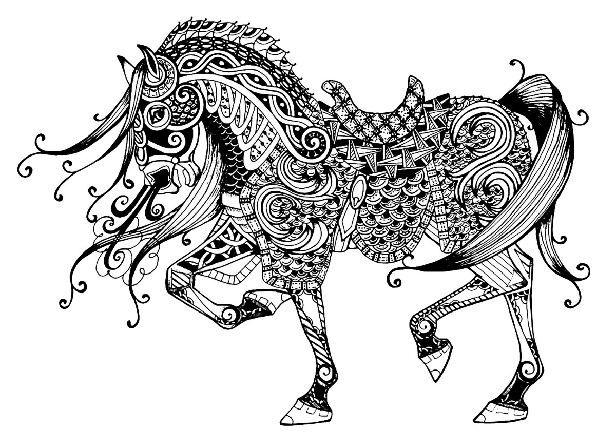 Horse Coloring Page Majestic Horse Horses Adult Coloring Pages