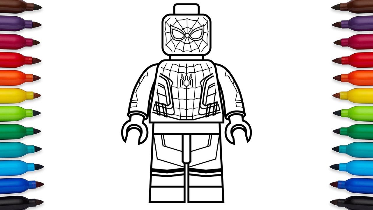 Lego Spiderman Coloring Pages How To Draw Lego Spider Man ...