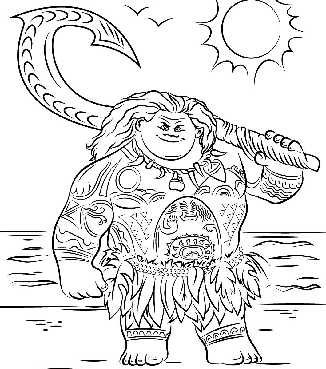 Moana color pages magnificent disney moana coloring pages free