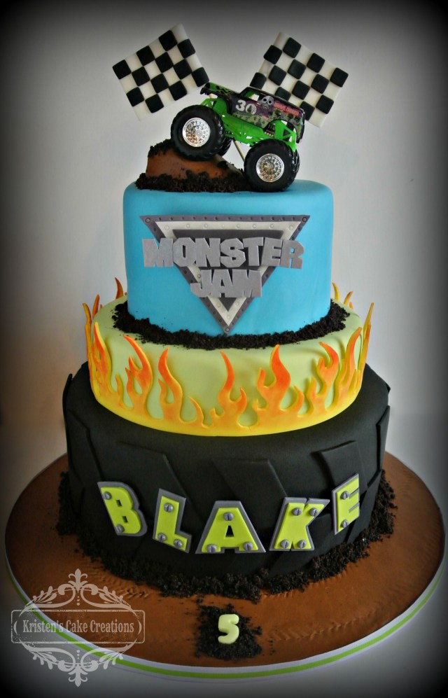 Monster Truck Birthday Cake Monster Truck Cake With Flames 3 Tier Boys Birthday Birthday Party
