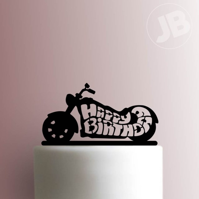 Motorcycle Birthday Cakes Motorcycle Happy Birthday Cake Topper 100