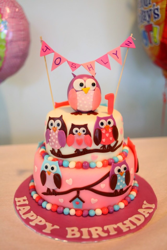 Owl Birthday Cake Pink Owl Birthday Cake Sherbakes