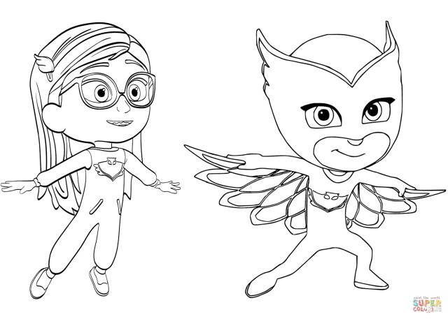 Owlette Coloring Page Pajama Hero Amaya Is Owlette From Pj Masks Coloring Page Free