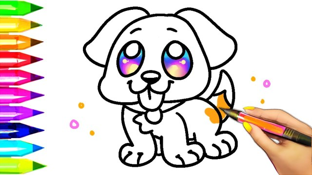 Puppy Coloring Pages Easy Dog Coloring Pages For Kids Learning Colors With Puppy