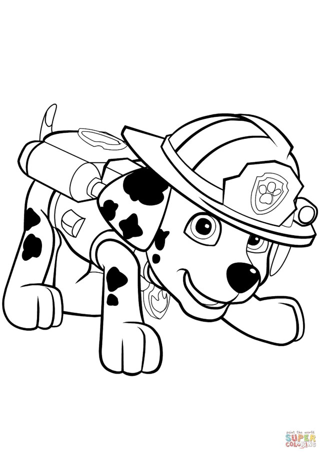Puppy Coloring Pages Quick Puppy Coloring Page Paw Patrol Marshall Free Printable Pages