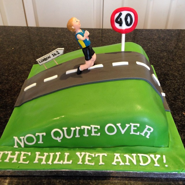 Runner Birthday Cake Over The Hill 40th Birthday Cake For Marathon Runner Party