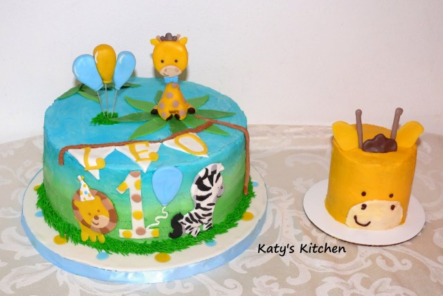 Safari Birthday Cake Katys Kitchen 1st Birthday Safari Cake And Smash Cake