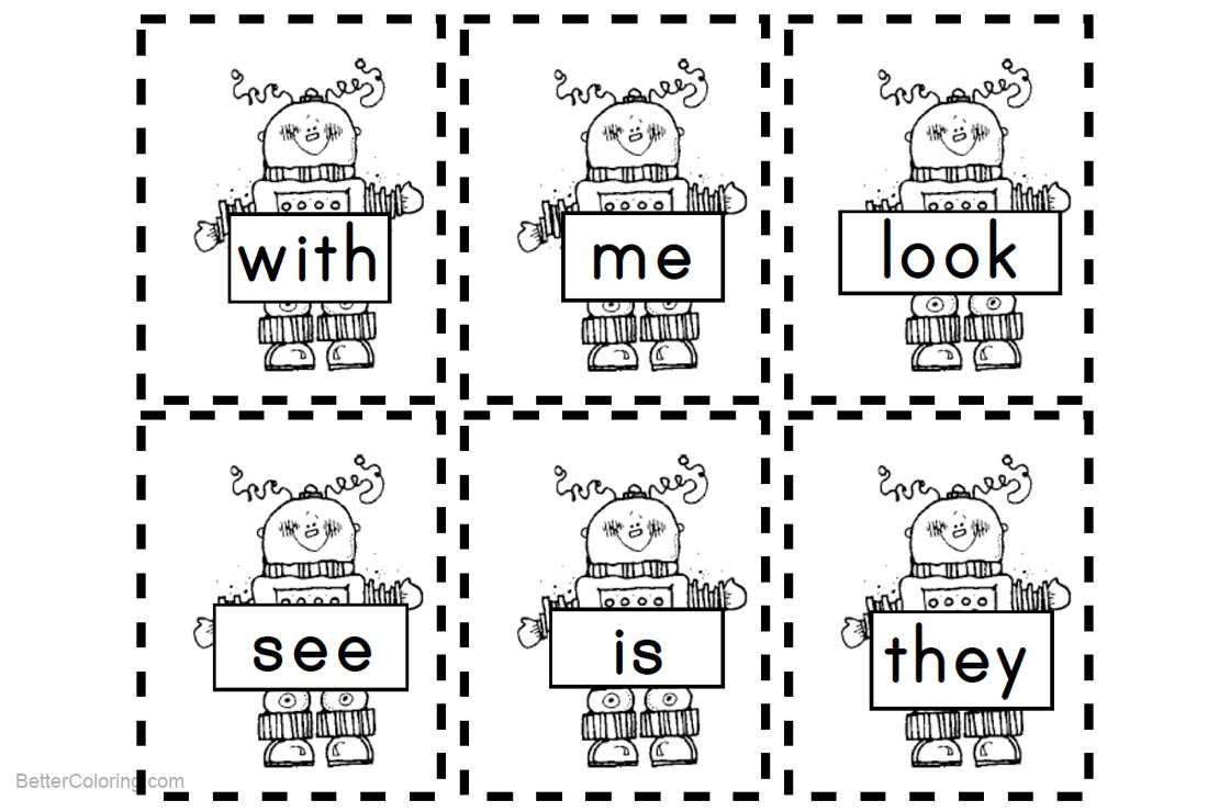 Sight Word Coloring Pages Sight Word Coloring Pages Robots Free