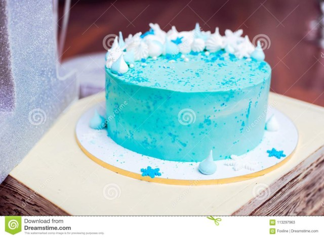 Small Birthday Cakes Blue Birthday Cake With A Small Meringues Stock Image Image Of
