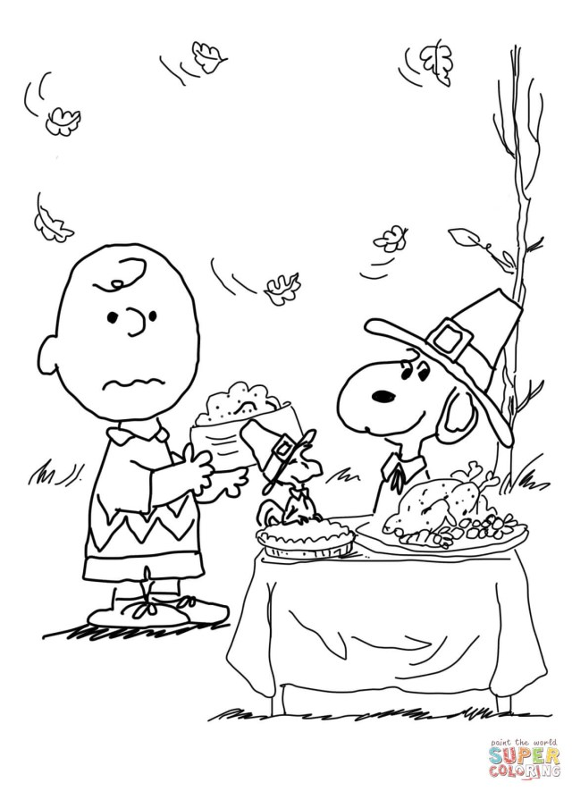 Thanksgiving Color Pages Charlie Brown Thanksgiving Coloring Page Free Printable Coloring Pages