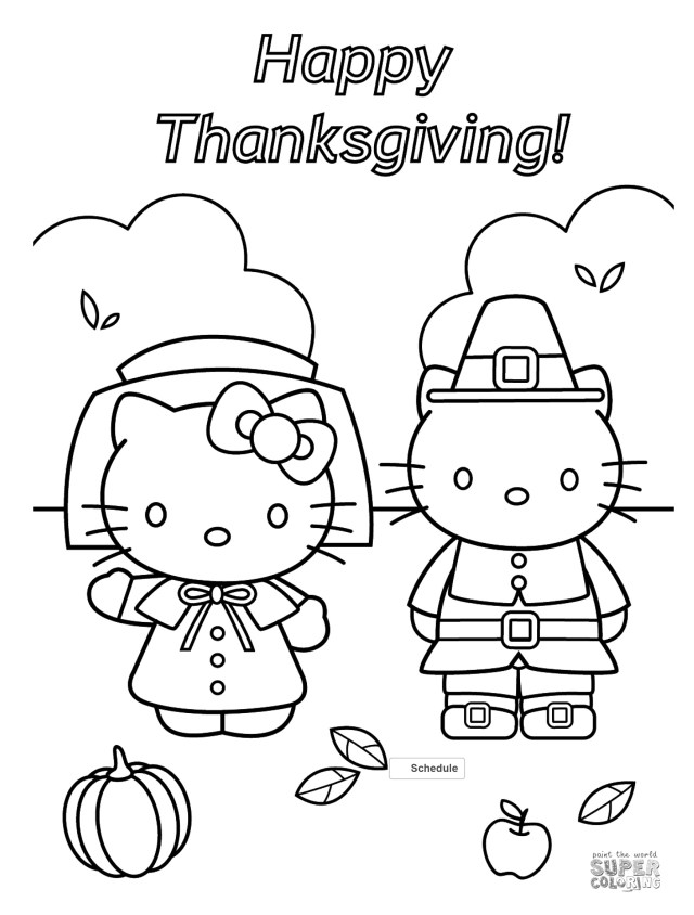 Thanksgiving Color Pages Hello Kitty Thanksgiving Coloring Page Free Printable Pages Colorin