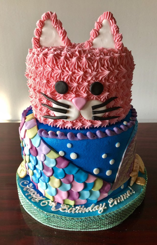 Toddler Girl Birthday Cakes Kitty And Mermaid Cake Adrienne Co Bakery Little Girl Birthday