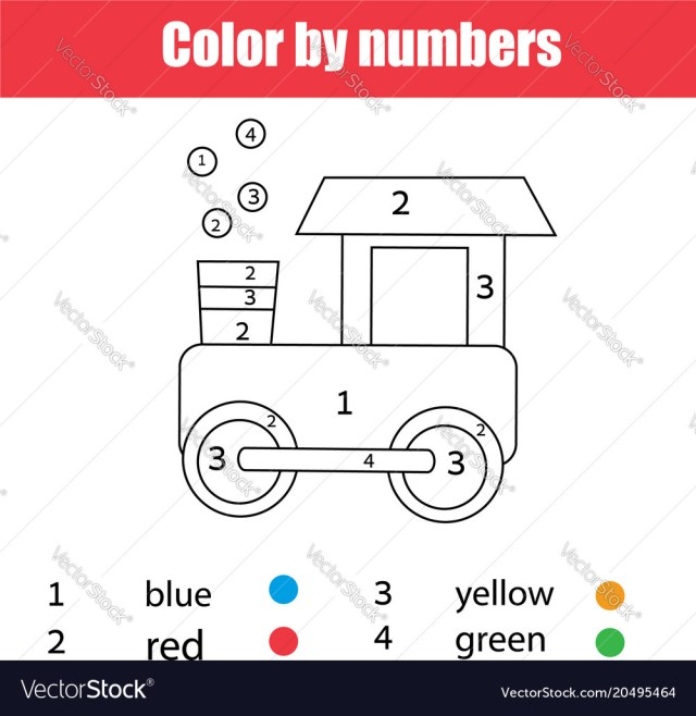 Train Coloring Page Coloring Page With Toy Train Color Numbers Vector Image