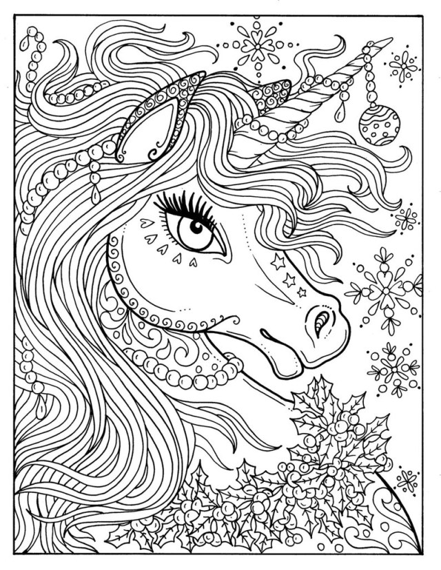 Unicorn Coloring Pages For Adults Unicorn Christmas Coloring Page Adult Color Book Art Fantasy Etsy