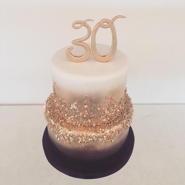 White And Gold Birthday Cake Black Gold And White 30th Birthday Cake Happy Birthday Sabreen