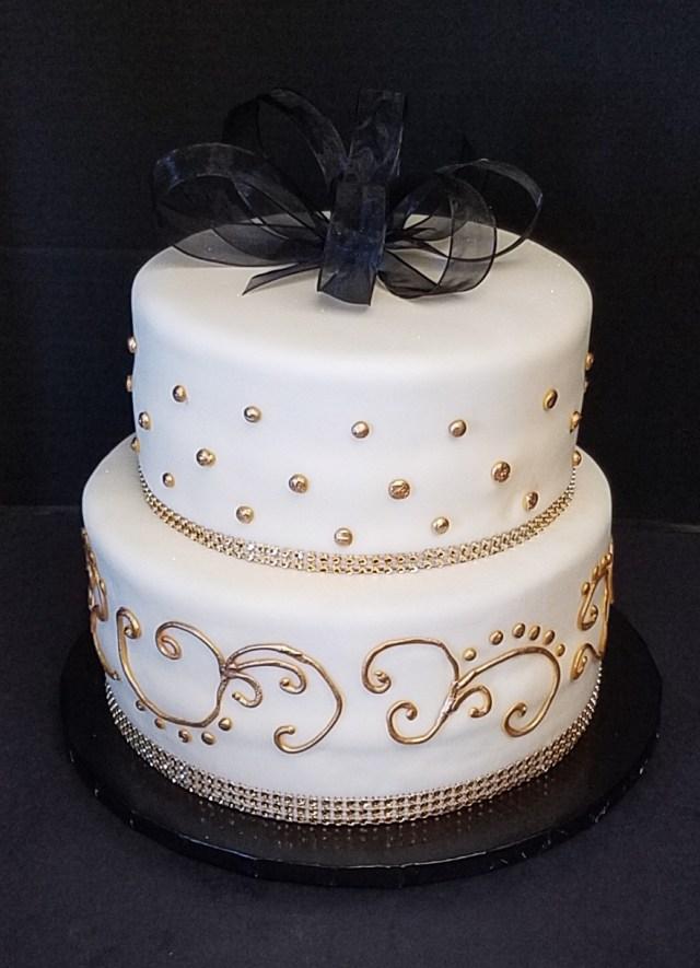 White And Gold Birthday Cake Black White And Gold Birthday Cake
