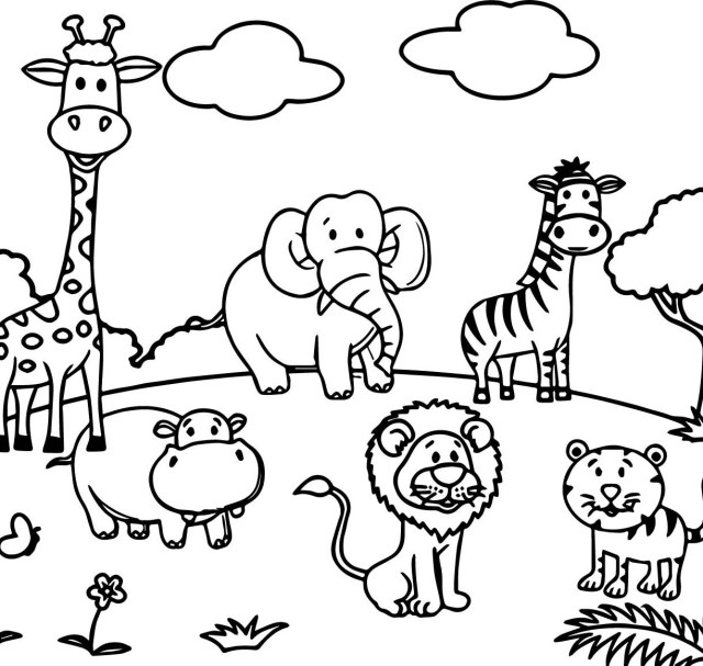 Zoo Animals Coloring Pages Coloring Animals For Kindergarten Ark Sea Games Animal Pages Online